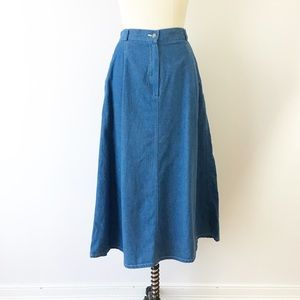 Vintage Denim Midi Skirt Pockets Chambray Long 14